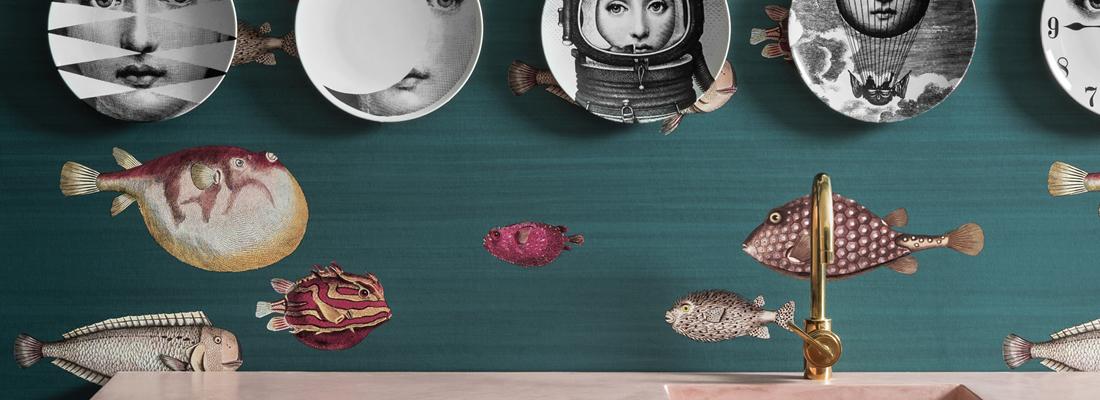 Tapet med fiskar - Acquario - Från Fornasetti