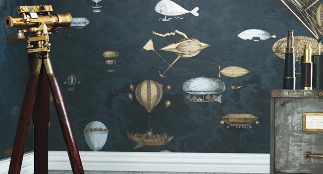 Tapet med luftballonger - Macchine Volanti - Från Fornasetti