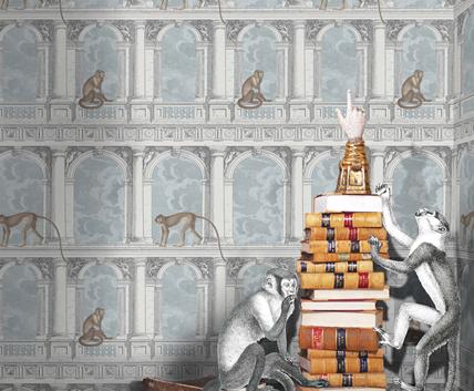 Tapet med balkong och apor - Procuratie Con Vista - Från Fornasetti