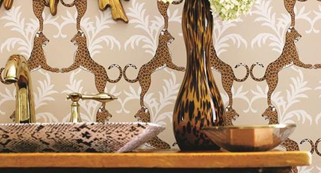 Modern medaljongtapet med djur - Cheetah - Från Thibaut