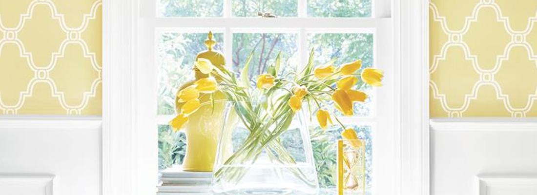 Klassisk gul trellistapet - Stanbury - Från Thibaut