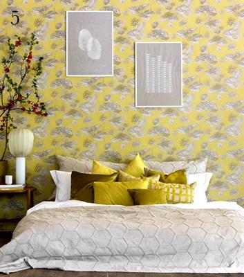 Blommig gul tapet - Lotus Lake - Från Mimou