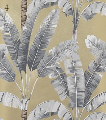Gul tapet med palmblad - Palmaria - Från Osborne & Little