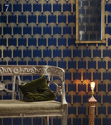 Blå tapet med guldiga palmer - Marrakesh - Från Barneby Gates