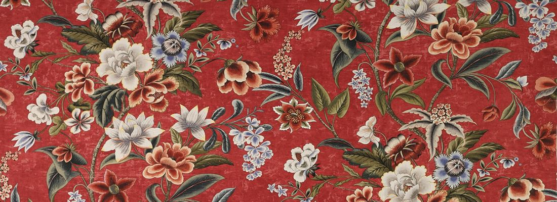 Röd blommig tapet - Celestine - Från Colefax and Fowler