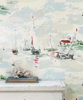 1950-tals tapet med segelbåtar - Sail Away - Från Sandersson