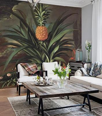 Bildtapet till fondvägg - Pineapple - Från Aif Fil Des Couleurs