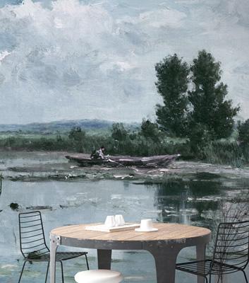 Fondtapet med sjömotiv - Morning Lake - Från Auf Fil Des Couleurs