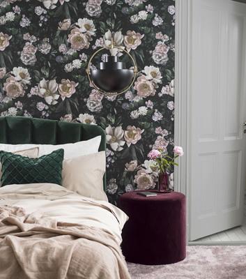 Blommig tapet till fondvägg - New Dawn Rose - Från Boråstapeter