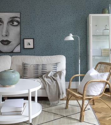 Blå blommig tapet - 7008 - Från Engblad & Co