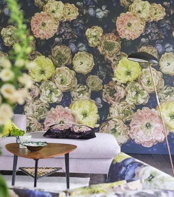 Blommig tapet - Le Poeme De Fleurs - Från Designers Guild