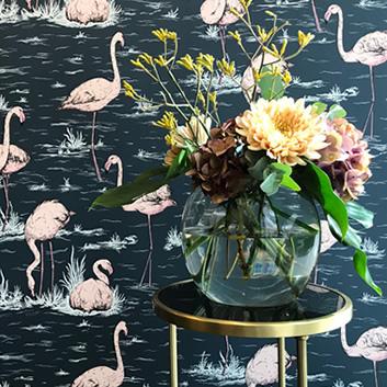 Tapet med fåglar och flamingos