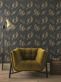 Baker Ferns Charcoal/Bronze Tapet