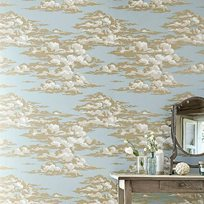 Sanderson Silvi Clouds - English Blue Tapet