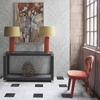 Zoffany Mitford Damask Platinum Grey
