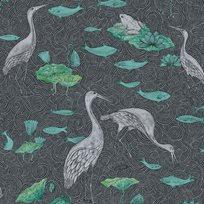 Au fil des Couleurs Enchanted River Black & Green Tapet