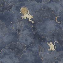 Au fil des Couleurs Stars & Monkeys Midnight Blue Tapet