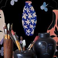 Coordonné Vase of Paradise, Charcoal