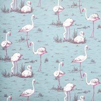 Cole & Son Flamingos, White & Fuchsia on Seafoam Tyg