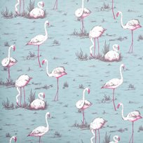 Cole & Son Flamingos, White & Fuchsia on Seafoam