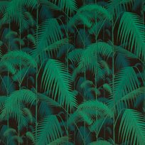 Cole & Son Palm Jungle, Viridian & Petrol on Black Tyg
