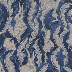 Långelid / von Brömssen Hares in hiding, blå Tapet