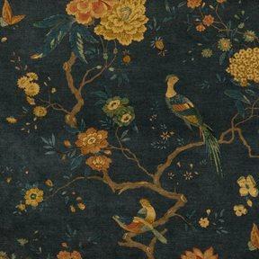 Baker Oriental Bird Velvet Teal Tyg