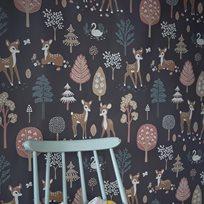Majvillan Golden woods grey Tapet