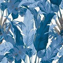 Thibaut Travelers Palm Navy and white Tapet