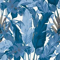 Thibaut Travelers Palm Navy and white