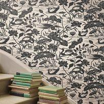 Baker Heron & Lotus Flower, Black / White Tapet