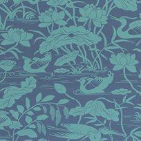 Baker Heron & Lotus Flower, Teal / Blue Tapet