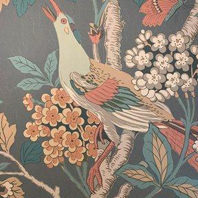 Baker Hydrangea Bird, Charcoal / Sienna