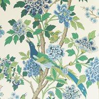 Baker Hydrangea Bird, Emerald / Blue Tapet