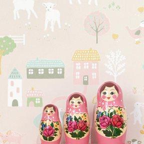 Majvillan My farm Soft pink Tapet