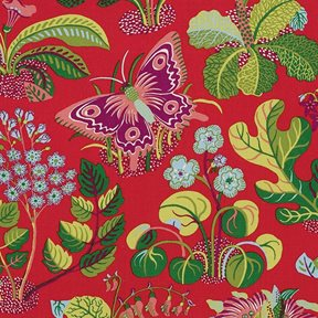 Josef Frank Exotic Butterfly, Red Tyg