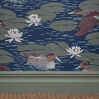 Långelid / von Brömssen Duck pond, Deep blue Tapet