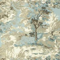 Thibaut Lincoln Toile Beige and Spa Blue Tapet