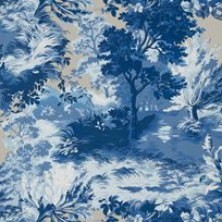 Thibaut Lincoln Toile Blue and flax Tapet