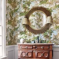 Thibaut Lincoln Toile Green and Beige Tapet