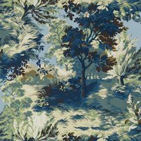 Thibaut Lincoln Toile Navy and Teal Tapet
