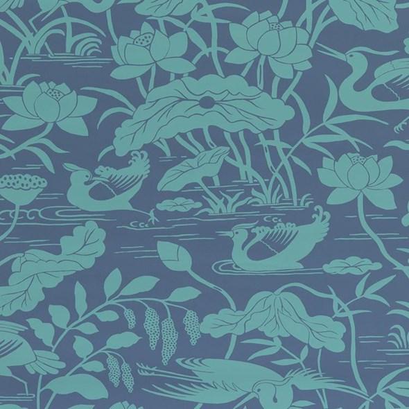 Baker Heron & Lotus Flower, Teal / Blue