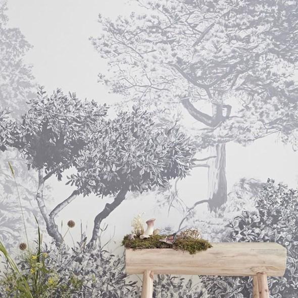 Sian Zeng Hua Trees Mural Grey Tapet