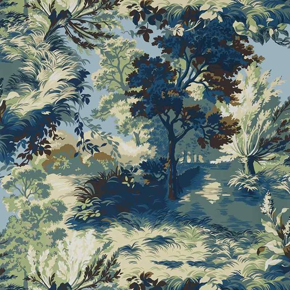 Thibaut Lincoln Toile Navy and Teal