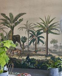 John Derian Palm Trail Scene 1 Sepia Tapet