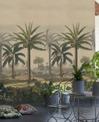 John Derian Palm Trail Scene 2 Sepia Tapet
