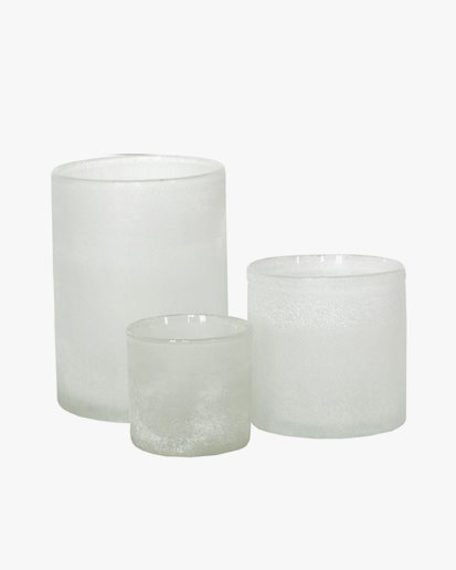 Tell Me More Frost Candle Holder White