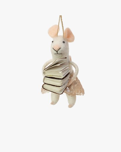 Olsson & Jensen Christmas Decoration Mouse With Books