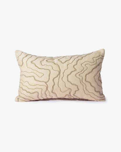 HK Living Cushion With Stitched Lines Cream