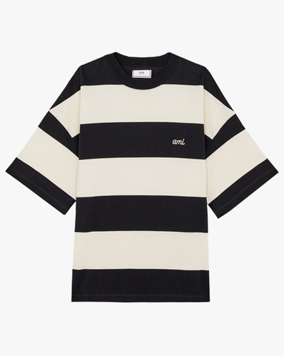 AMI Paris Striped Rugby T-Shirt Navy/Off White